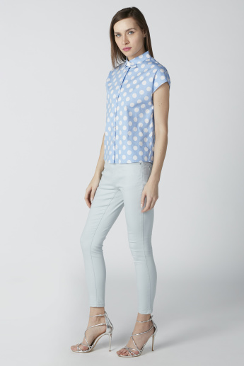 Polka Dot Printed Shirt in Slim Fit with Extended Sleeves