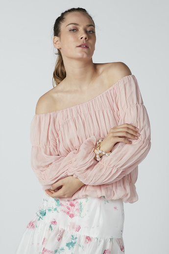 ELLE Textured Top with Bardot Neck and Long Sleeves