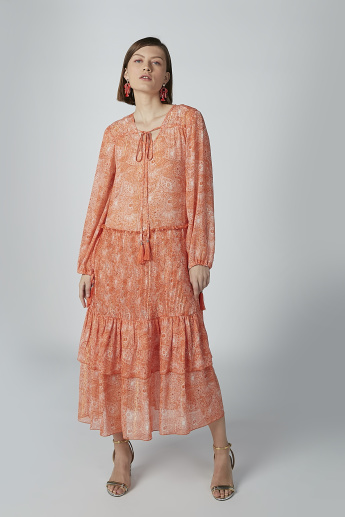 Paisley Printed Maxi A-line Dress with Long Sleeves and Tie Ups