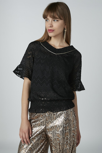 ELLE Textured Top with V-neck and Flounce Sleeves
