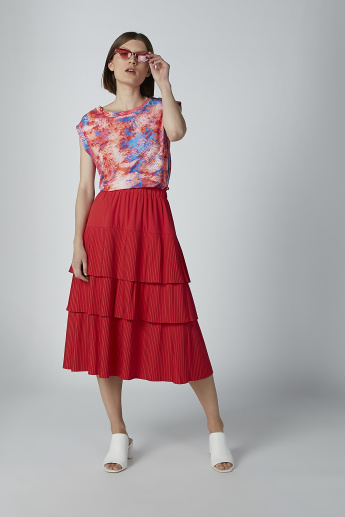 ELLE Striped Midi A-line Skirt with Ruffle Detail