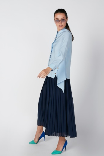 ELLE Solid Shirt with Dipped Hemline and Side Button Detail