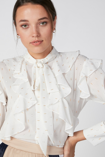 ELLE Printed Top with Ruffle Detail and Long Sleeves