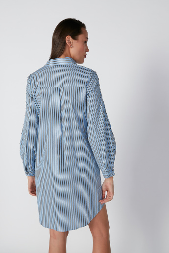 ELLE Striped Midi Shirt Dress with Long Sleeves
