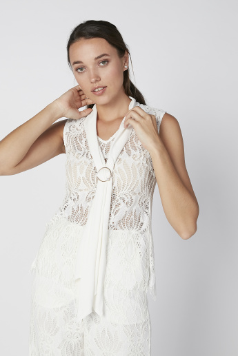 ELLE Lace Sleeveless Top with V-neck