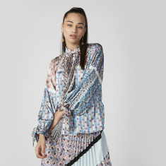 ELLE Printed Top with Long Sleeves and Tie Ups