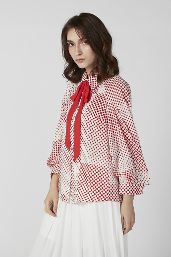 ELLE Polka Dots Printed Top with Pussy Bow and Flared Sleeves