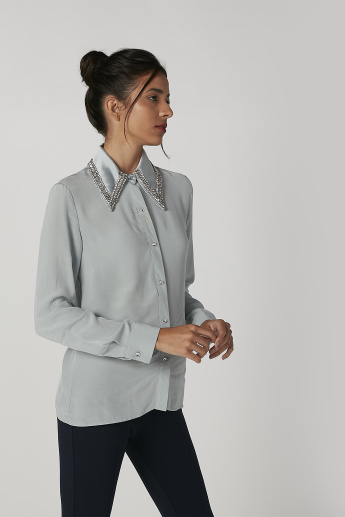 ELLE Embellished Shirt with Spread Collar and Long Sleeves