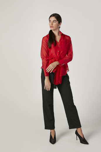 ELLE Textured Top with Long Sleeves and Tie Ups