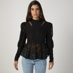 ELLE Lace Top with High Neck and Long Sleeves