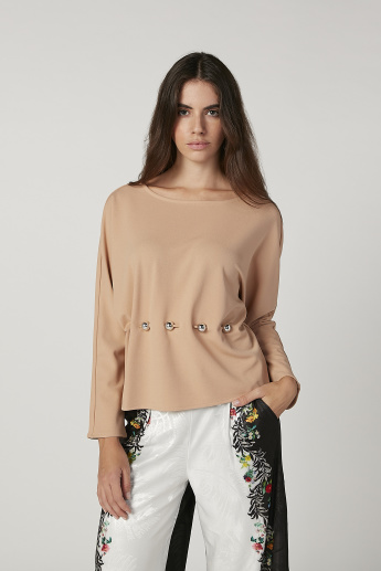 ELLE Embellished Top with Boat Neck and Long Sleeves