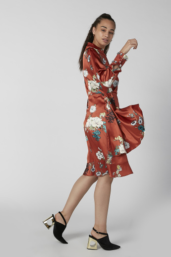 ELLE Printed Midi A-line Dress with High Neck and Long Sleeves