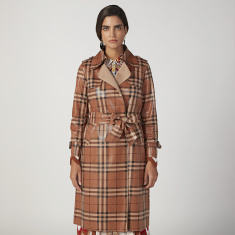 ELLE Straight Fit Chequered Trench Coat with Pocket Detail