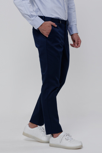 Elle Full Length Trousers with Button Closure and Pocket Detail