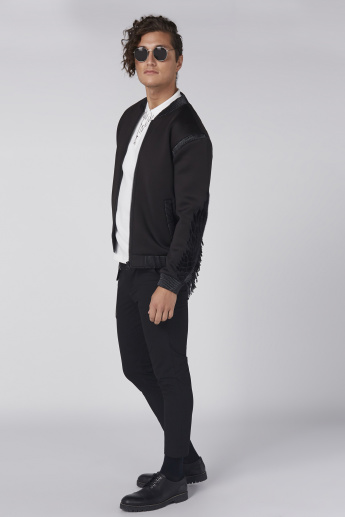 L'Homme Embroidered Bomber Jacket with Long Sleeves and Zip Closure