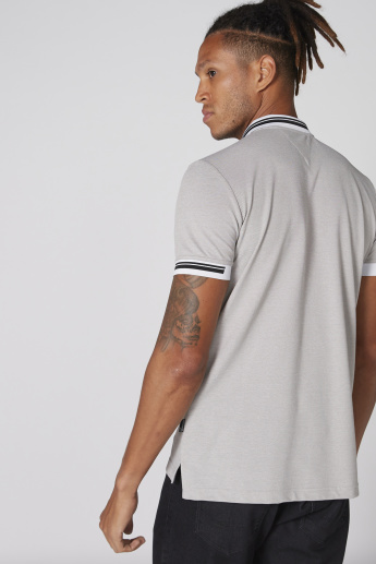 L'Homme Badge Detail T-Shirt with Polo Neck and Short Sleeves