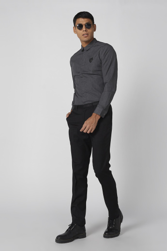 L'Homme Long Sleeves Shirt with Applique Detail and Concealed Placket