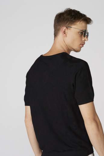 L'Homme Textured T-Shirt with Round Neck and Short Sleeves
