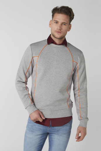 L'Homme Melange Sweatshirt with Crew Neck and Long Sleeves