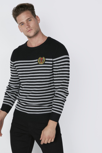 L'Homme Striped Sweatshirt with Long Sleeves