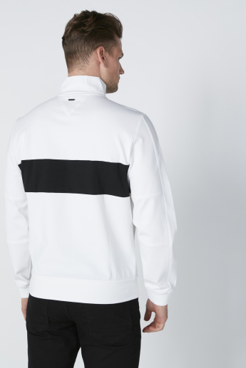 L'Homme Panel Printed Sweatshirt with Long Sleeves and Pocket Detail