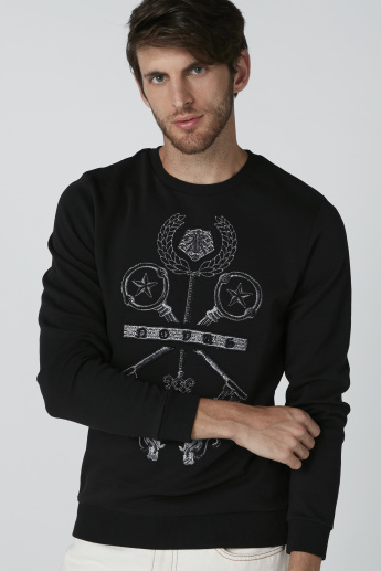 L'Homme Embroidered Sweatshirt with Round Neck