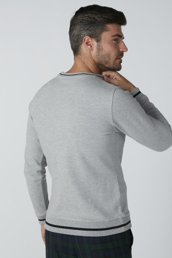 L'Homme Embroidered Sweatshirt with Round Neck and Long Sleeves