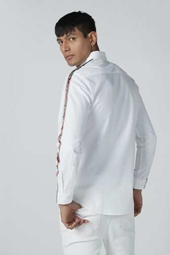 L'Homme Tape Detail Shirt with Long Sleeves and Spread Collar