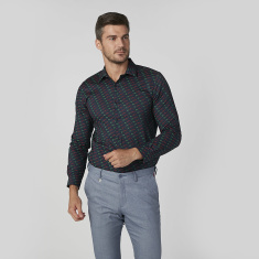 L'Homme Slim Fit Printed Shirt with Spread Collar