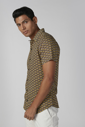 L'Homme Printed Collared Shirt with Short Sleeves