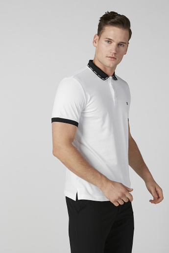 L'Homme Slim Fit Textured T-shirt with Polo Neck and Short Sleeves