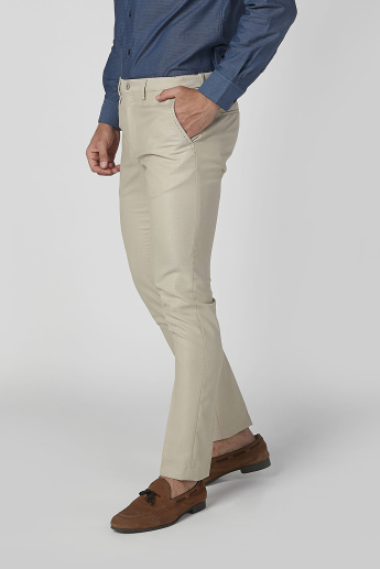 L'Homme Slim Fit Full Length Solid Chinos with Pocket Detail