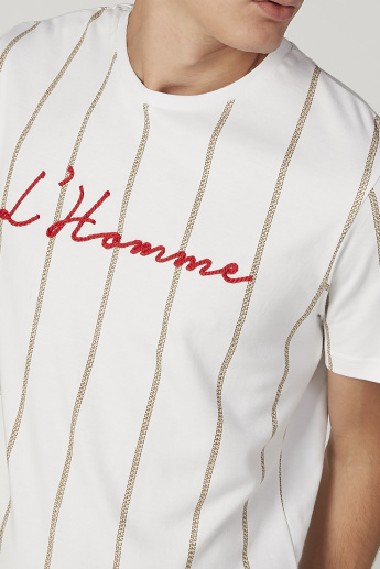 L'Homme Embroidered T-shirt with Round Neck and Short Sleeves