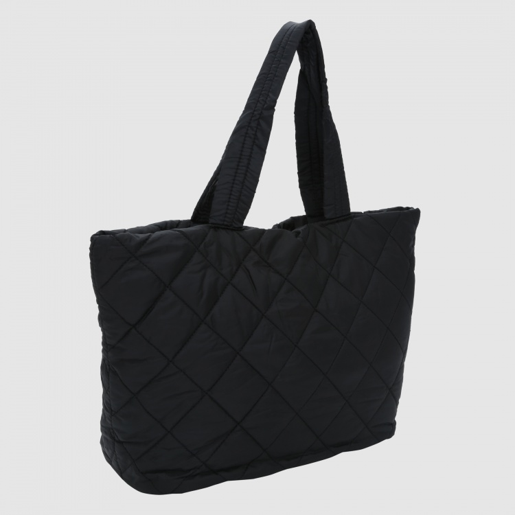 Quilted Tote Bag with Zip Closure