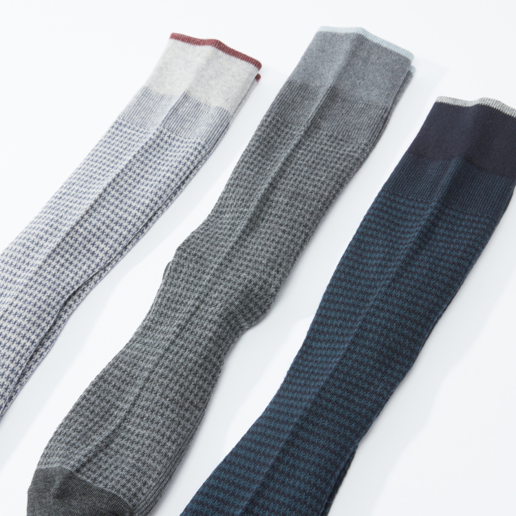 Textured and Printed Crew Length Socks - Set of 3