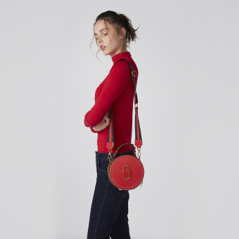 Embellished Round Crossbody Bag with Zip Closure