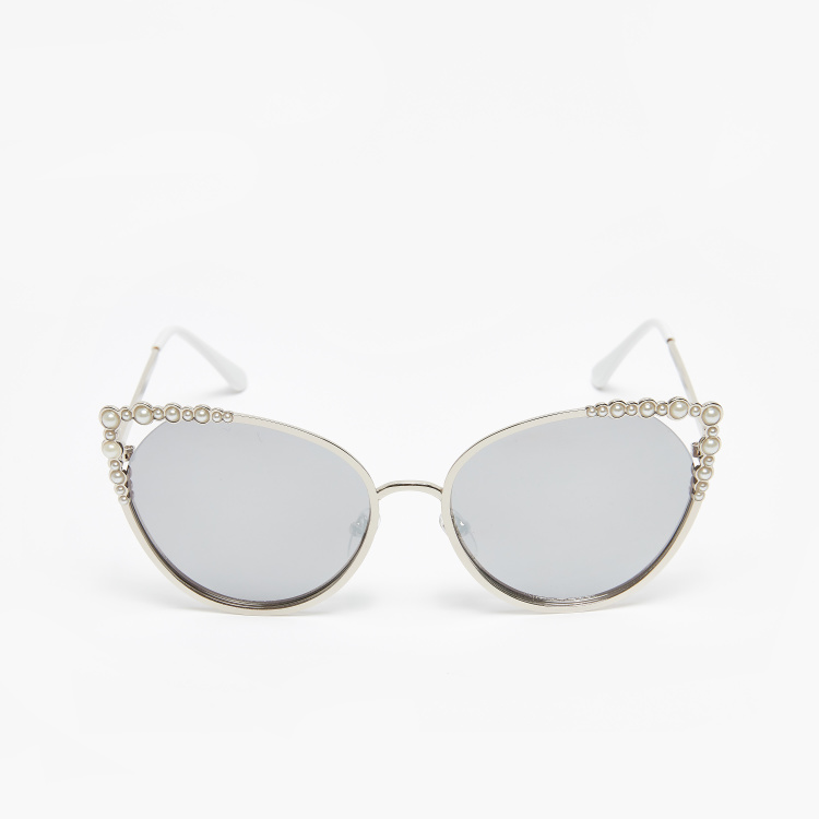 Full Rim Cat Eye Sunglasses with Embellishments and Temple Tips