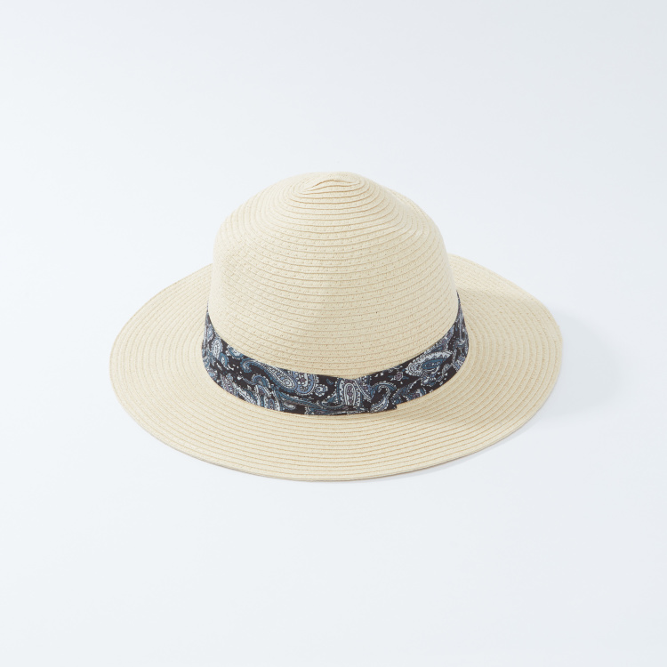 Textured Hat with Print Detail