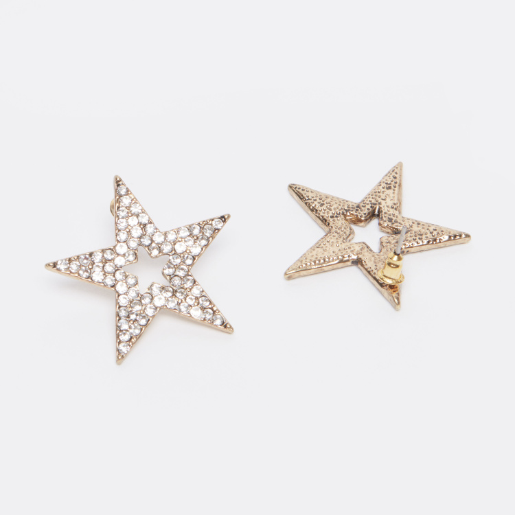 Studded Star Shaped Earrings with Pushback Closure