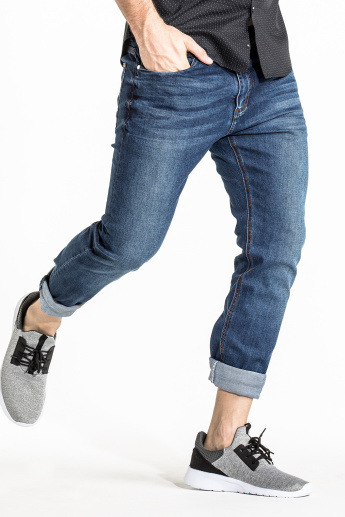 CR7 CRISTIANO RONALDO Full Length Jeans with Pocket Detail and Button Closure