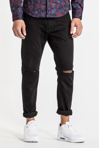 CR7 CRISTIANO RONALDO Full Length Distressed Jeans with Pocket Detail
