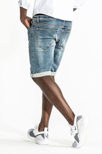 CR7 CRISTIANO RONALDO Denim Shorts with Button Closure and Pocket Detail