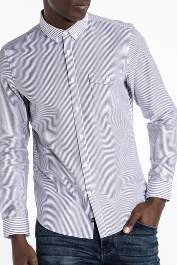 CR7 CRISTIANO RONALDO Striped Shirt with Long Sleeves and Complete Placket