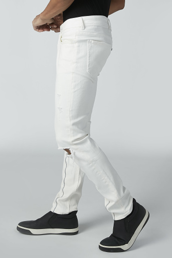 CR7 Distressed Jeans with Zip and Pocket Detail