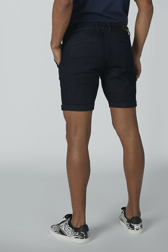 CR7 Textured Denim Shorts with Pocket Detail