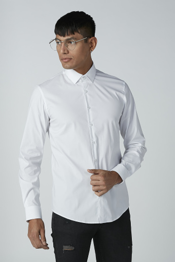 CR7 Plain Shirt with Long Sleeves and Complete Placket