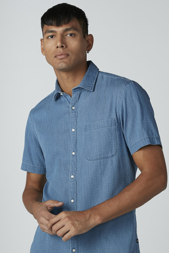 CR7 Textured Shirt with Short Sleeves and Chest Pocket Detail