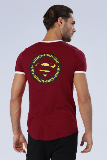 Iconic Superman Printed T-Shirt with Round Neck and Short Sleeves