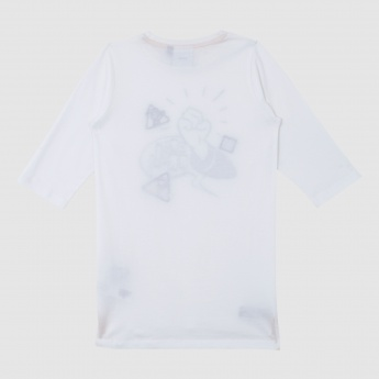 Iconic Donald Duck Printed Long T-Shirt with Round Neck