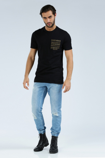 Iconic Embellished Crew Neck T-Shirt with Short Sleeves and Zip Detail